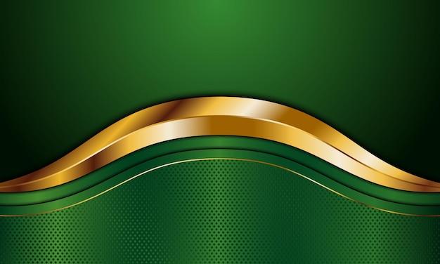 Зеленые металлические и золотые полосы волны с линией фона векторные иллюстрации