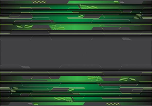 Green metallic circuit on grey futuristic background.