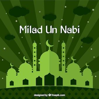 Green milad un nabi background in flat design