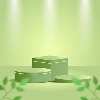 緑の熱帯の葉と緑のスタジオと緑の最小限の製品の表彰台