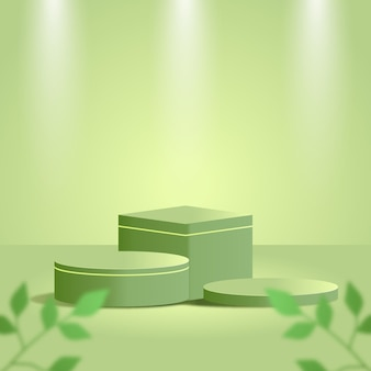 Green minimal  product podium with green tropical leaves and green studio