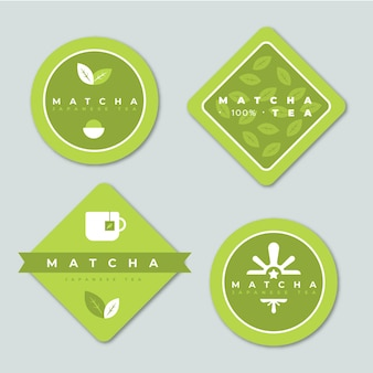 Green minimalist matcha tea bags collection