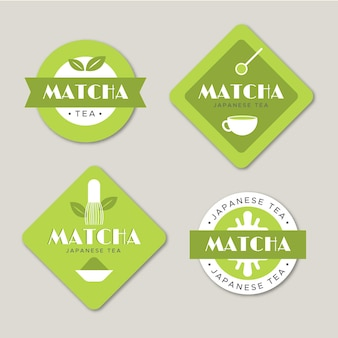 Green minimalist matcha tea label set