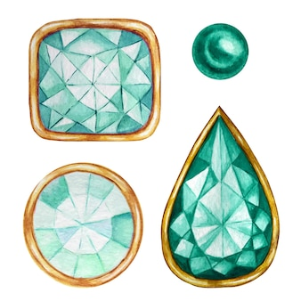 Green mint crystal in a gold frame and jewelry beads. hand drawn watercolor diamond.