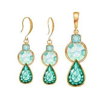 Green mint drop, square, round crystal gemstone beads with gold element. watercolor drawing golden pendant and earrings.