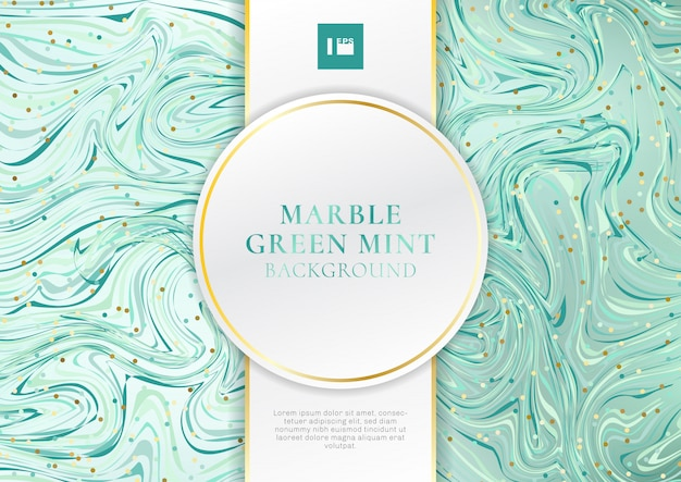 Green mint marble background with label