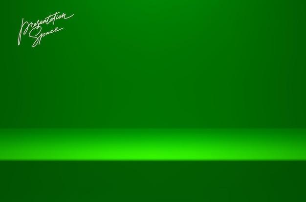 Зеленый макет сценической студии для презентации продукта минимальная сцена с подиумной сценой