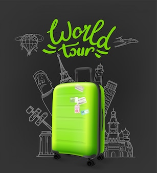 Green modern plastic suitcase with lettering logo. world tour concept