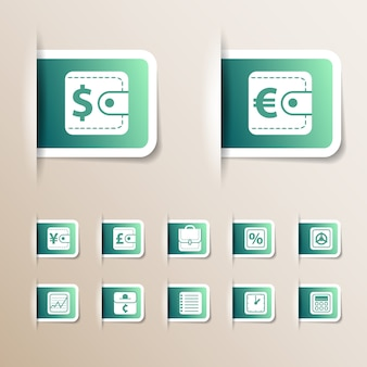 Green money icons set of various sizes with different symbols and white frames isolated