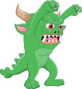 흰색 배경에 녹색 괴물 만화