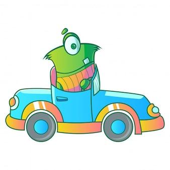 Green monster driving car illustration