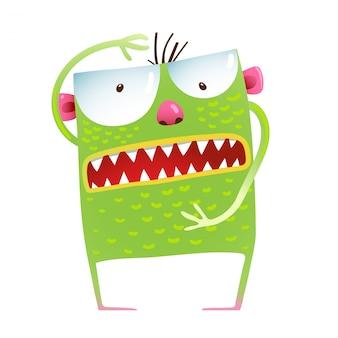 Green monster frog showing size, kids cartoon