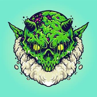 Green monster smoke vape cloud illustrations