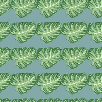 緑のモンステラヤシはシームレスな落書きパターンを残します。淡いブルーの背景。熱帯の緑のアートワーク。