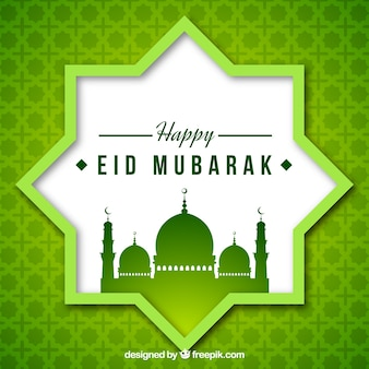 Green mosaic background of eid mubarak