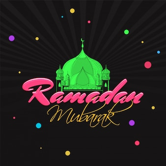 Green mosque with colorful text ramadan mubarak