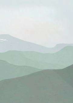 Green mountain clouds vector, minimal aesthetics
