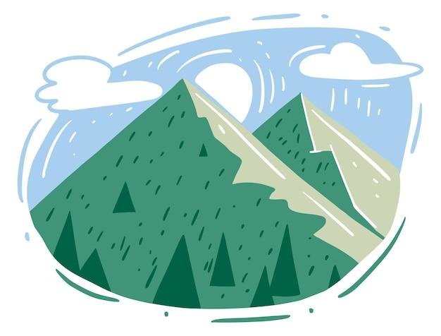 구름과 태양 일러스트 디자인으로 녹색 산 풍경