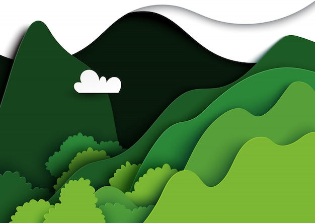 Green mountains nature landscape paper art.