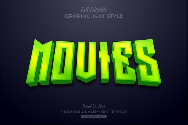 Green movies editable text effect