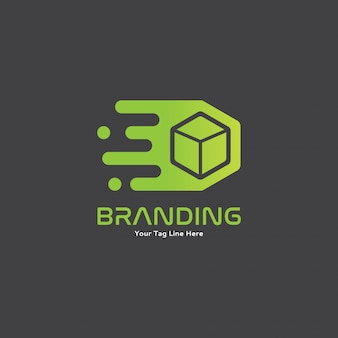 Green moving fast box with motion logo concept