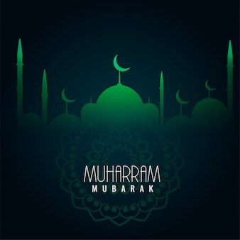 Green muharram mubarak islamic background