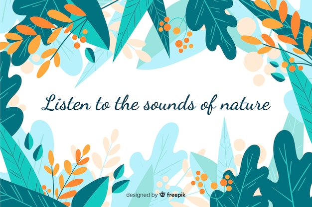 Green nature background with quote