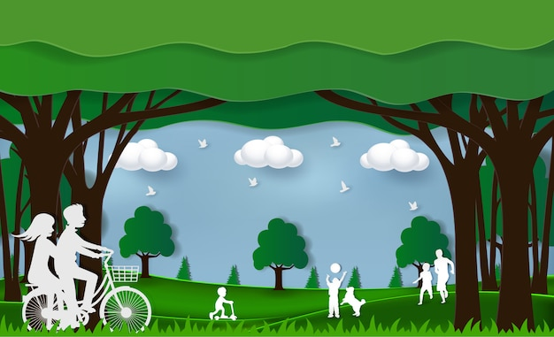 Green nature eco friendly concept. people are playing in the park. there are family, parents and children and couples are cycling. on a green lawn enjoying a relaxing vacation. paper art craft style