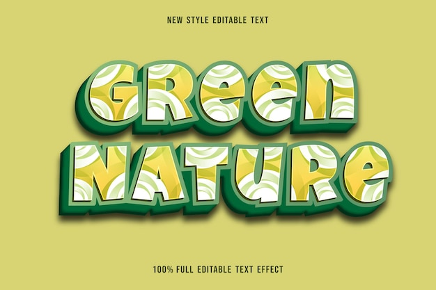 Green nature editable text effect color green and white