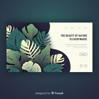 Green nature landing page template