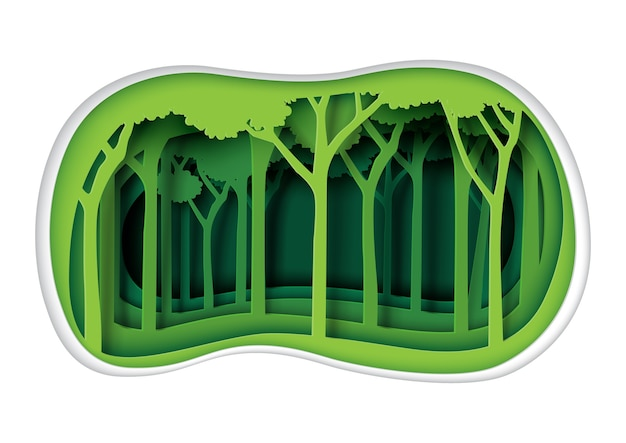 Green nature landscape and forest paper art style.