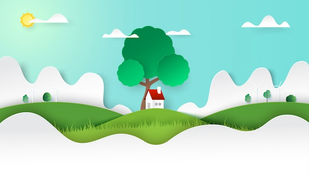 Green nature landscape and a little cottage on mountains view background template paper art style.