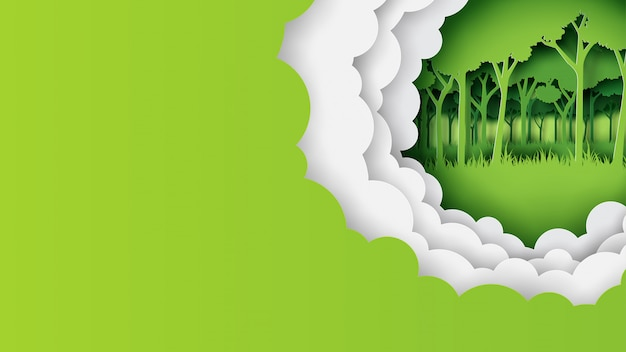 Green nature template banner paper art style