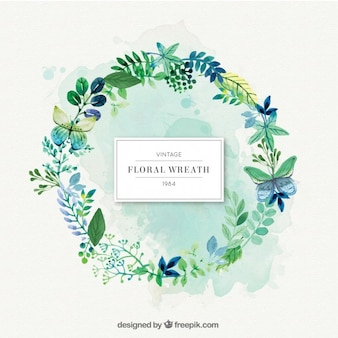 Green nature wreath with leaves