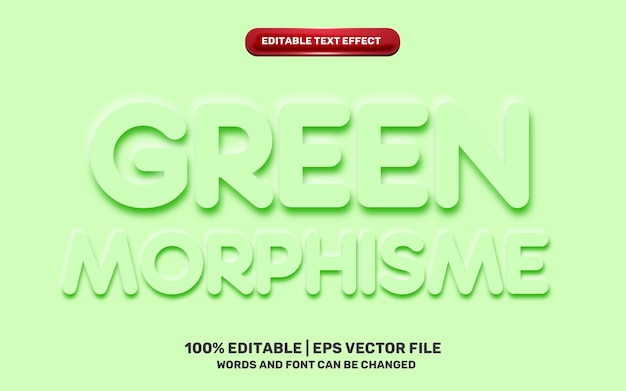 Green neomorphic neomorphisme emboss 3d simple modern future editable text effect