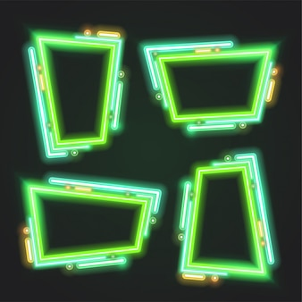 Green neon banner frame set