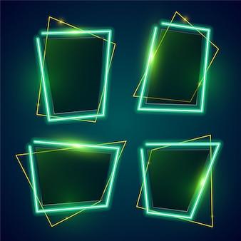 Green neon banner set