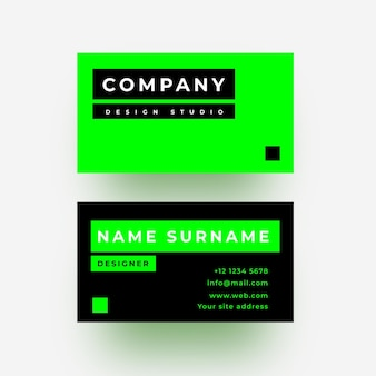 Green neon and black business card