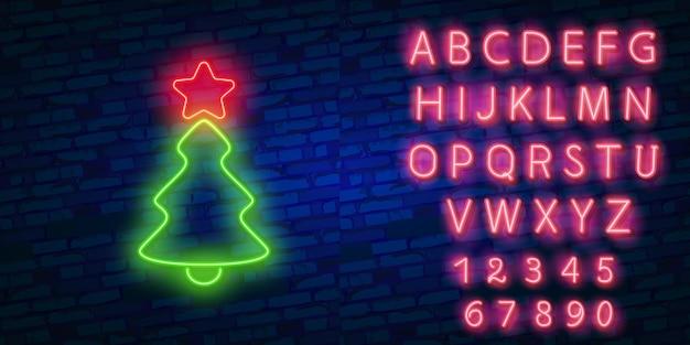 クリスマスツリーの緑のネオンライト緑のネオンが光る