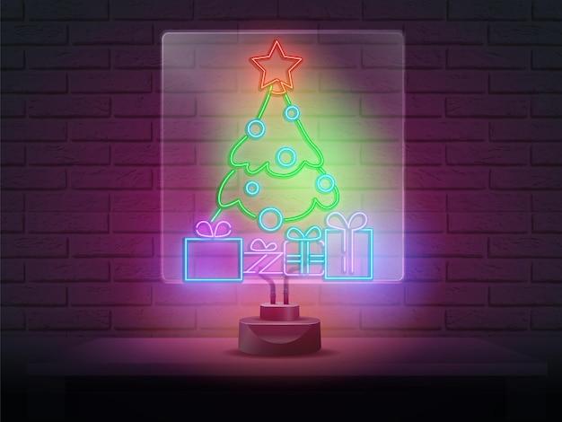크리스마스 트리 녹색 네온 빛나는 녹색 네온 불빛