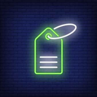Green neon tag. Night bright advertisement element.