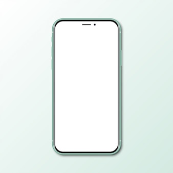 Green new smartphone with blank screen with shadow