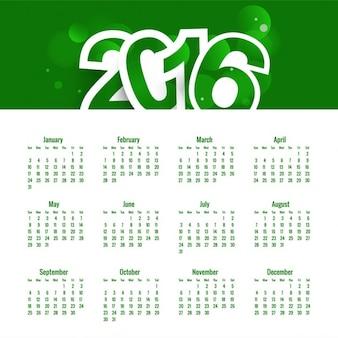 グリーン、新しい年2016年カレンダー
