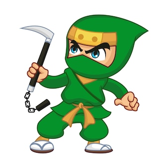 Green ninja with kusarigama