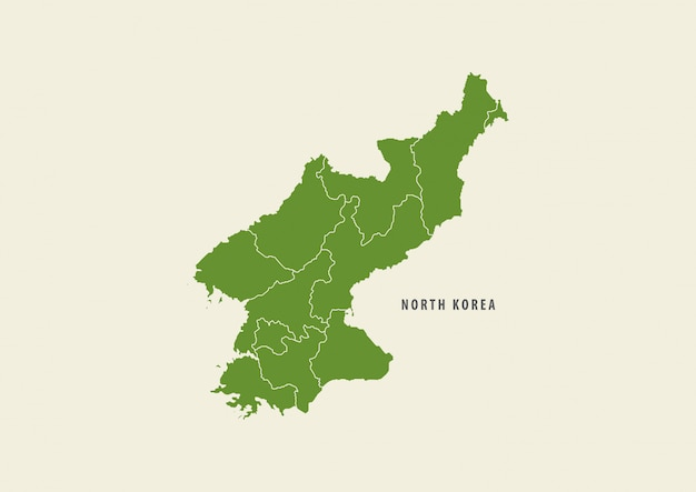 Green north korea map detail map isolated on white background, environment concept