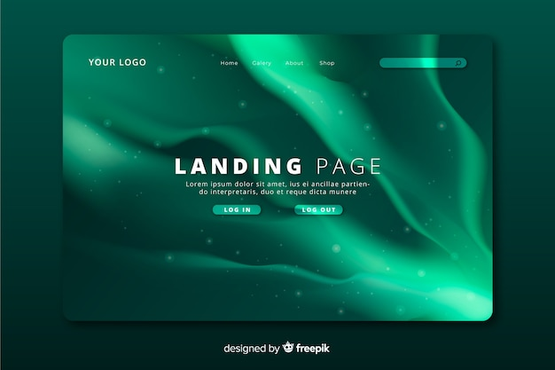 Green northern lights landing page