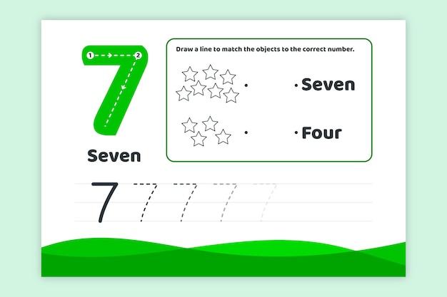 녹색 번호 7 워크 시트