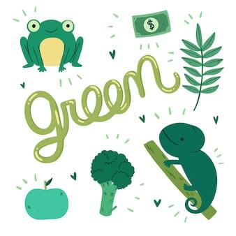 英語で設定された緑のオブジェクトと生物