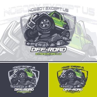 Green off road car logo on top of a mountain with a slogan at the top.
