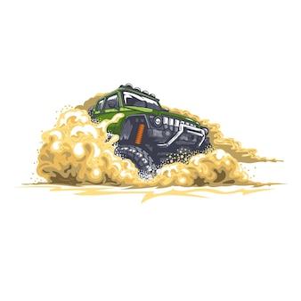砂とほこりで砂漠の障害物を運転する緑のオフロード車
